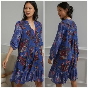 Anthro Blue Floral Diana Pintucked Tunic Dress S